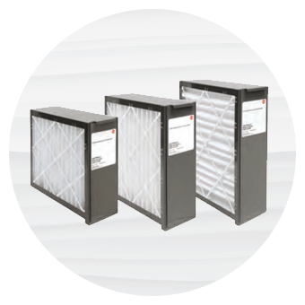 Degree image of three Rheem indoor air filters for your home's HVAC system.