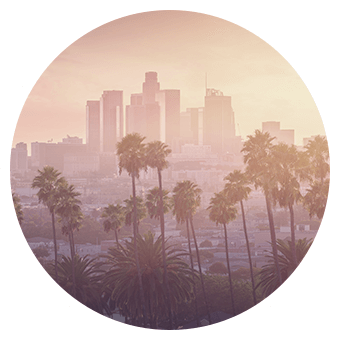 Degree image of downtown Los Angeles' air quality.