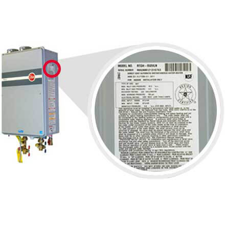 Example picture on how to find your Rheem tankless water heater model and serial number.