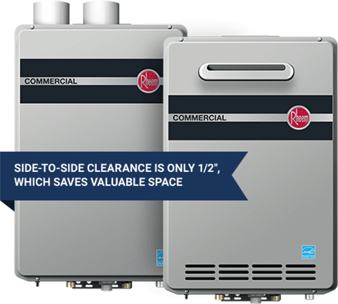 Side-to-side clearance is only 1/2 inch, which saves valuable space