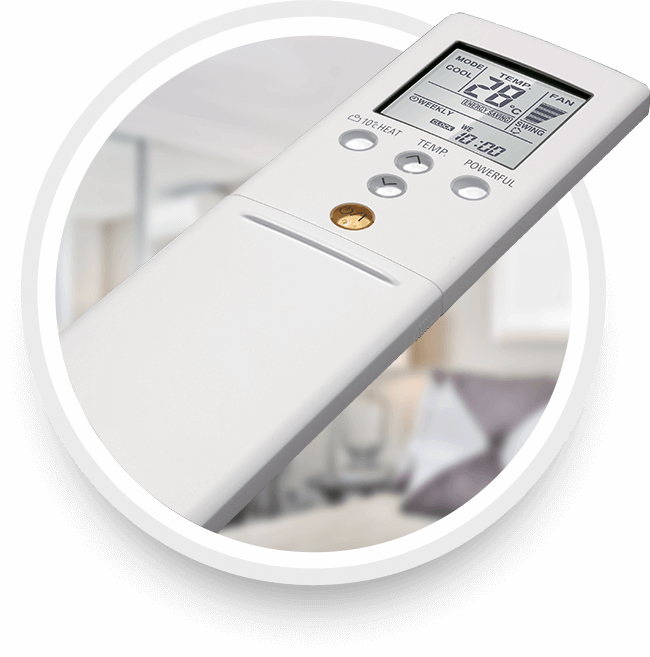 Picture of a Rheem mini-split remote controller for your home.
