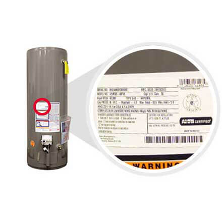 Example picture on how to find your Rheem tank water heater model and serial number.