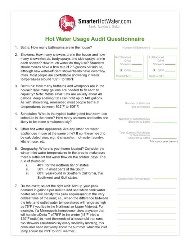 What Size Of Rheem Water Heater Do You Need Rheem Water Heaters