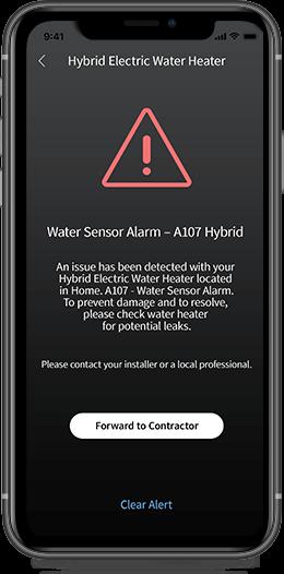 alert on app sensing water