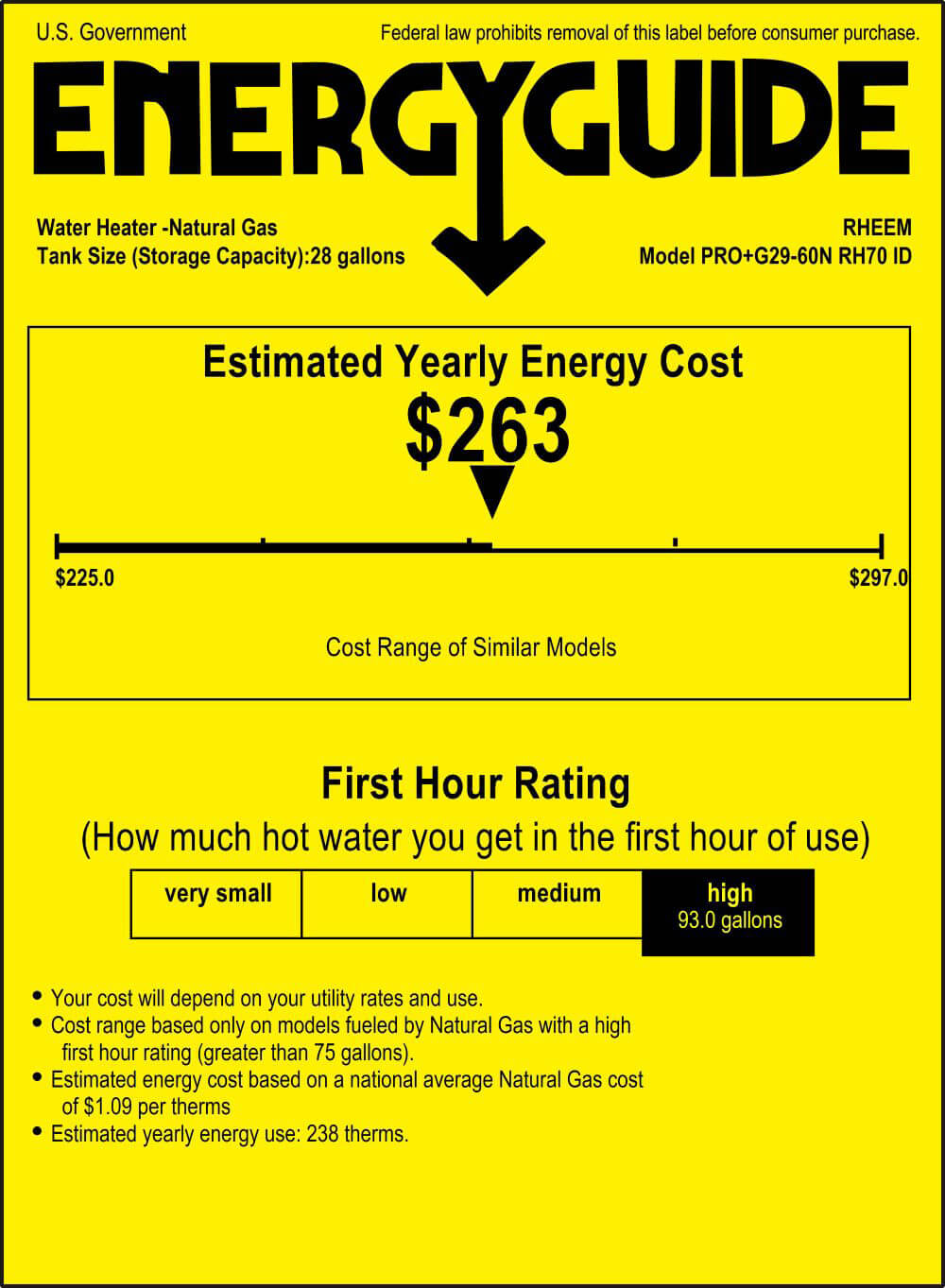 energy guide estimated yearly energy cost $263