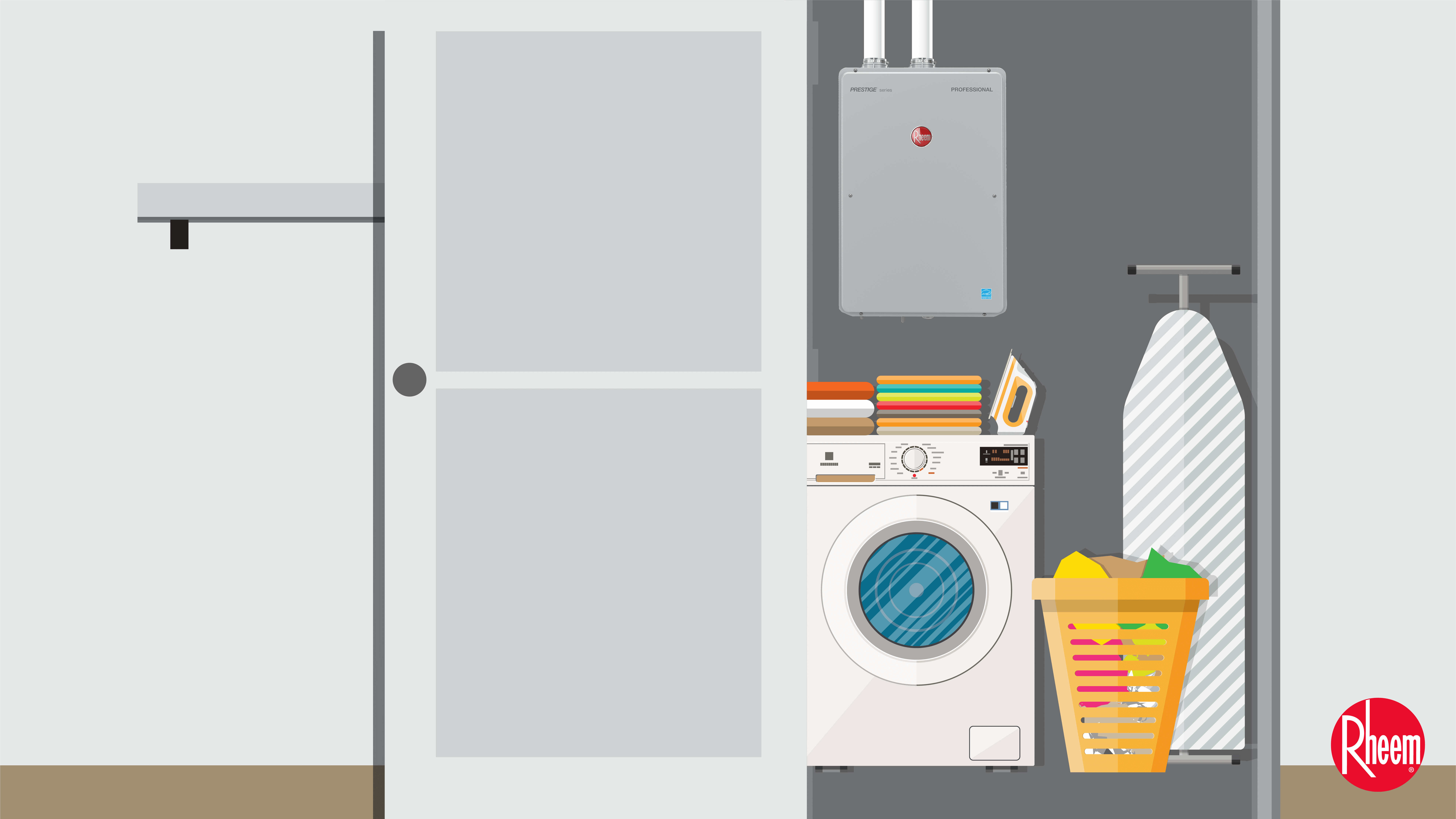 tankless unit in a laundry room