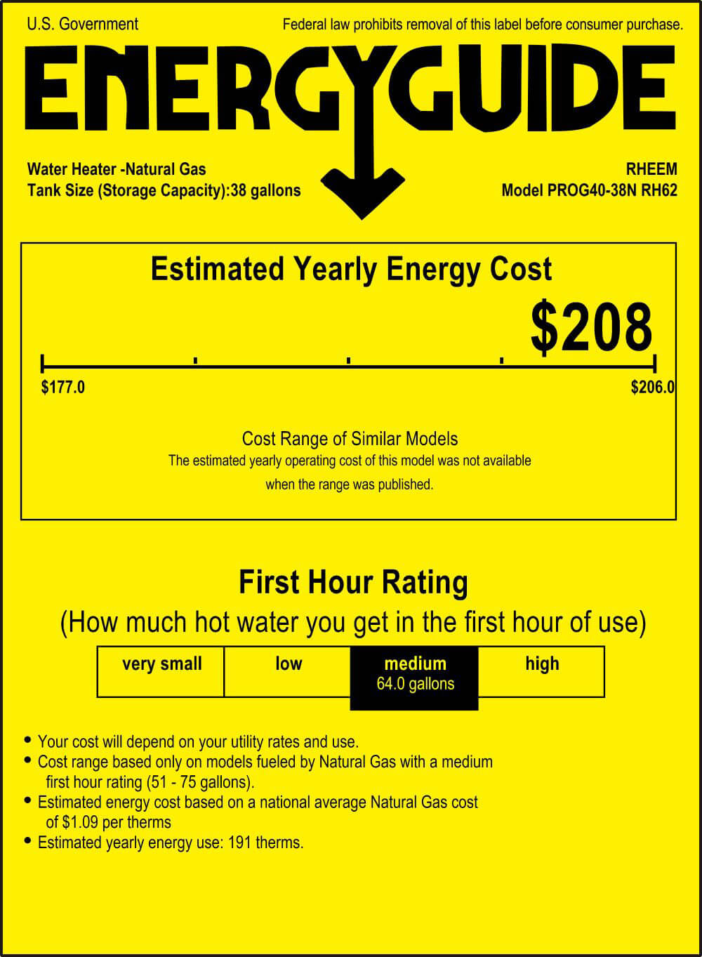 energy guide estimated yearly energy cost $208